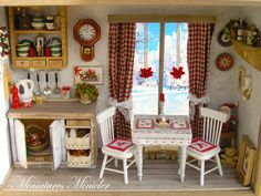 Miniature Dollhouse Christmas Kitchen RoomBox With The French Window, Fully Equipped , Set Scale 1:12