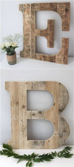 Wedding Guest Book Initial Letter / http://www.deerpearlflowers.com/rustic-wedding-guest-book-ideas/