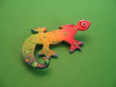 New to PondScumCeramics on Etsy: Whimsical Gecko Wall Hanging Clay scultpture Lizard Sculpture Chameleon Lizard animal collectibles Lizard (21.00 USD)
