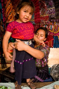 Young children still wear Mayan traditional clothes, Guatemala