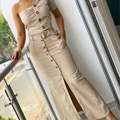 Image may contain: 1 person, standing Women's Fashion Dresses, Sexy Dresses, Casual Dresses, Long Denim Skirt Outfit, Bodycon Dress With Sleeves, Plus Size Skirts, Chic Dress, Party Fashion, Designer Dresses