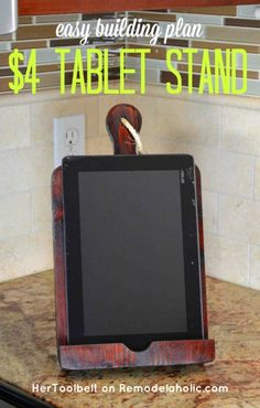If you like cooking using online recipes a tablet holder or Ipad holder is a must. Build a DIY bread board kitchen tablet holder with this easy tutorial.