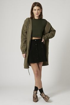Suede A-Line Popper Front Skirt - Topshop USA