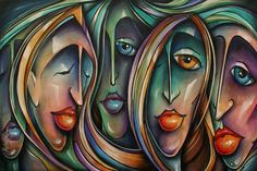 ' Masks' Painting by Michael Lang
