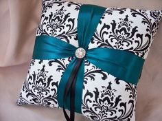 Madison Damask White Teal or Peacock Feather Blue with Rhinestone Accent Bridal Wedding Ring Bearer Pillow on Etsy, $27.00