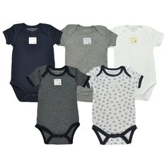 7e7c8e55a Burt's Bees Bee Essentials Organic Short Sleeve Baby Bodysuits Set of 5
