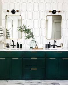 Bathroom Vanity + Picket Tile - - guide to identifying shower tile, homeowners guide to identifying shower tile. Modern Master Bathroom, Modern Bathroom Design, Bathroom Interior Design, Small Bathroom, Bathroom Ideas, Bathroom Cost, Modern Bathrooms, Master Bathrooms, Bad Inspiration
