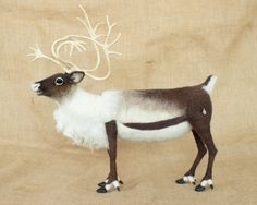 RESERVED FOR JOY Armstrong and Maverick the Caribou: Needle felted animal sculptures