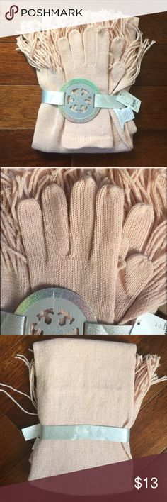 NY&Co. Pink & Gold Flecked Gloves/Scarf Set Gorgeous pale pink with elegant gold dusting New York & Company Accessories Scarves & Wraps