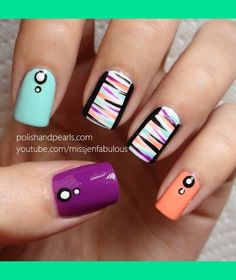 Easy, funky nail art by MissJenFabulous Funky Nail Art, Funky Nails, Easy Nail Art, Cool Nail Art, Love Nails, Pretty Nails, Dream Nails, Nail Art Designs, Nail Polish Designs