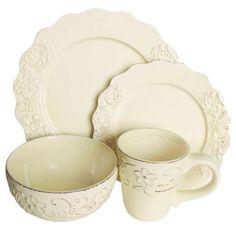 "Sixteen-piece dinnerware set with scalloped trim.  Product: (4) 10.75"" Dinner plates(4 ) 8.25"" Salad plates(...Joss & Main"