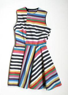 JOANNA PYBUS S/S13 Asymmetric Multi-Colour Stripe Dress