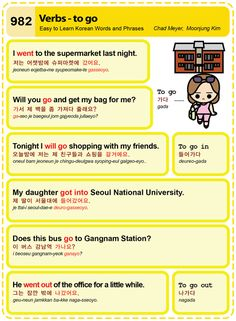 Easy to Learn Korean 982 - Basic Verbs - to go. Chad Meyer and Moon-Jung Kim An Illustrated Guide to Korean EasytoLearnKorean.com