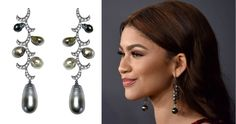 Zendaya wore black gold, Tahitian pearl and diamond earrings by Yoko London   Get the look with our  FEI LIU 18CT WHITE GOLD DIAMOND AND SEA PEARL WHISPERING CURL EARRINGS