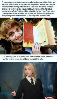 Luna Lovegood story - Inspirational and funny story of Evanna Lynch who had to beat anorexia to get the audition for Luna Lovegood role in Harry Potter. She was always my favorite. Ridiculous Harry Potter, Harry Potter Love, Harry Potter Fandom, Harry Potter Insults, Harry Potter Quotes, Harry Potter Books, Ravenclaw, Hufflepuff Pride, Fans D'harry Potter