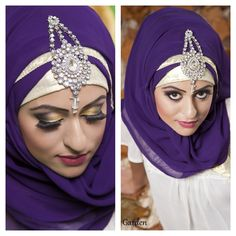 Not a big fan of such heavy and overdone make up. But the hijab is beautiful. Islamic Fashion, Muslim Fashion, Modest Fashion, Hijab Fashion, Formal Fashion, Stylish Hijab, Modern Hijab, Bridal Hijab, Hijab Bride