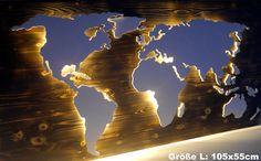 Wanddeko - Weltkarte: Beleuchtet & Echtholz Used-Look (Größe L) - ein Designerstück von merkecht bei DaWanda