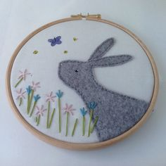 Gray Felt Rabbit hoop art - bunny nursery art - textile wall art - kids wall…