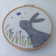 Gray Felt Rabbit hoop art bunny nursery art by BoxRoomBazaar