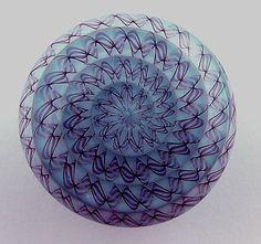 Item 2578 by jarisheese  24mm lampwork glass button, baby blue with purple twistie lattecino, self glass shank