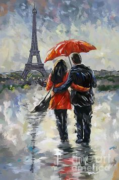 Couple in love, walking in the rain at the Eiffel Tower in Paris.