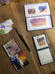 3 easy to make, ultra-light homemade pochade box designs Watercolors, Watercolor Paintings, Pochade Box, Gear Art, Easels, Cigarette Box, Paint Drying, Linseed Oil, Travel Kits