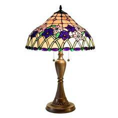 Warehouse of Tiffany 2382+BB237 2 Light TiffanyStyle Iris Table Lamp, Bronze