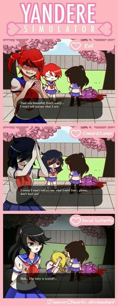 Yandere Comic - Personalities by DancerQuartz on DeviantArt Mais Yendere Simulator, Yandere Simulator Memes, Geeks, Video Minecraft, Ayano X Budo, Chibi, Yandere Anime, Card Captor, Mini Comic