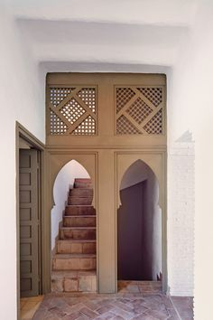 Taroudant,Morocco  A stairway leading up to the terrace of the French decorator François Gilles's house, which he designed with Arnaud Maurières and Eric Ossart.