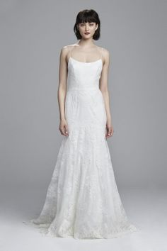 """""""Gabby"""" - Fit to flare spaghetti strap corded lace bridal gown with scalloped hem"""