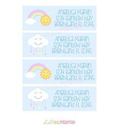 Kids Address Labels - Childrens Stationary - 12 Address Labels  RainbowKawaii Friends Address by LePetitePeaPod