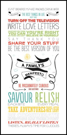 Love the look of this family manifesto.  Fewer colours but similar type.