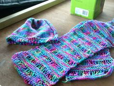garter drop stitch scarf and hat $15 set or scarf $10 and hat $7.50 + postage