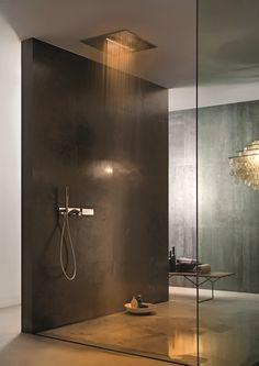 Ceiling mounted 2-spray overhead shower Acqua Zone Dream Series by Fantini Rubinetti | design Franco Sargiani
