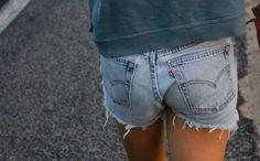 "leslieknopeful: "" Levi's cutoffs are my jam. Parisienne Chic, How To Make Shorts, How To Wear, Denim Fashion, Womens Fashion, Denim Cutoffs, Jean Shorts, Ripped Denim, Cut Off Jeans"
