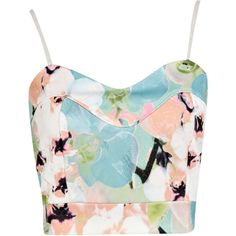 Boohoo Adele Floral Pastel Print Bralet (€15) ❤ liked on Polyvore featuring tops, crop tops, shirts, tank tops, crop top, print crop tops, blue floral top, pastel crop top and floral tops