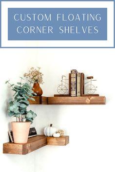 Custom Floating Shelves, Floating Corner Shelves, Custom Shelving, Knotty Pine, Living Room Shelves, First Apartment, Rustic, Cool Stuff
