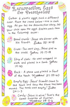 Resurrection Eggs for Toddlers  With just 6 eggs, a simple story-telling sentence for each, and easy peasy items to go inside, these Resurrection Eggs for Toddlers are so doable!  *printable*  -crumb/cracker-  -tissue-  -cross-  -rock-  -empty-  -treat- M