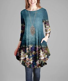 Look what I found on #zulily! Teal & White Floral Long-Sleeve Tunic Dress - Plus by Simply Aster #zulilyfinds