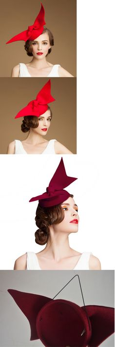 "878fdb42f54 Fascinators and Headpieces 168998  A194 ""Angel Wings"" Ladies Felt Wool  Fascinator Cocktail Formal"