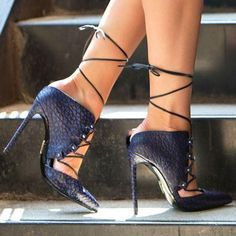 Pointed Tow Low Cut Lace Up Stiletto High Heels – Bags in Cart Black High Heels, High Heels Stilettos, High Heel Boots, Stiletto Heels, Shoes Heels, Blue Heels, Hot Shoes, Heeled Sandals, Wedge Heels