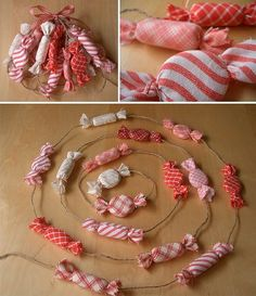 Candy Fabric Garland - I did not see a tutorial, but fabric scraps, poster board or clay for the insides, tie the ends with wire and string on jute???Any other ideas???