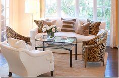 Living Room. Silk velvet leopard fabric. Cote de Texas.