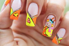 Visit the post for more. Cute Nail Art, Gel Nail Art, Cute Nails, Cartoon Nail Designs, Nail Art Designs, Nail Courses, Nail Salon Design, 3d Nails, Perfect Nails