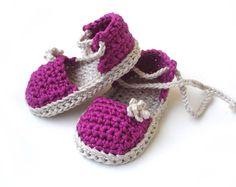 Crochet Pattern Baby Espadrille sandals Baby girl por Beatifico