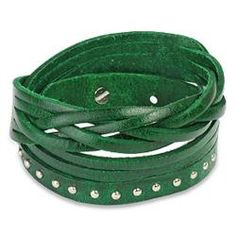 Bracelet is made up of mutiple leather strands interlocked and features a single row ofgold plated stainless steel studs and a three size adjustable pin closure. This bracelet measures 7.75 inches long.http://www.overstock.com/Jewelry-Watches/Green-Multi-strip-Braided-Studded-Strap-Bracelet/5533300/product.html?CID=214117 $23.99