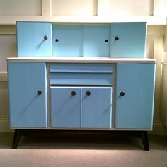Vintage retro kitchen cupboard cabinet 1950s restored farrow Ball two tone painted