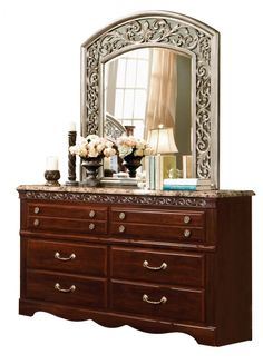 Triomphe Cherry Wood Glass Faux Marble Dresser