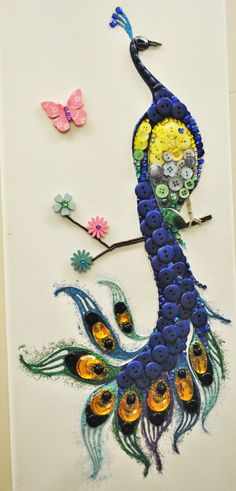 3H & ART by LudMilla ( Hobby & Handmade & Homemade ) NASTUR.ART  Blue buttons peacock #hobbyartbutik