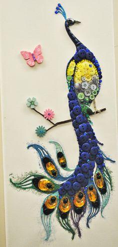 3H & ART by LudMilla ( Hobby & Handmade & Homemade ) NASTUR.ART Blue buttons peacock #hobbyartbutik
